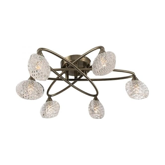 Endon 60646 Eastwood 6 Light Semi Flush Ceiling Light Antique Brass
