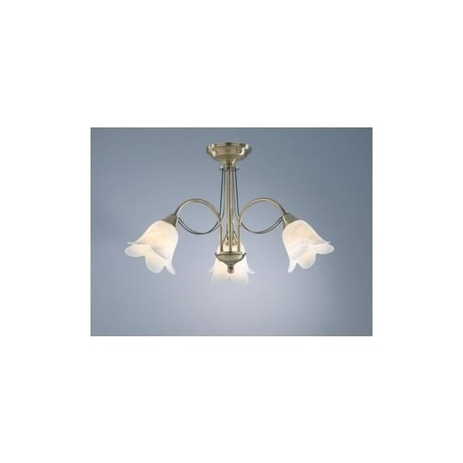 Dar DOU0375 Doublet 3 Light Traditional Ceiling Light Antique Brass Finish Complete With Alabaster Glass Shades