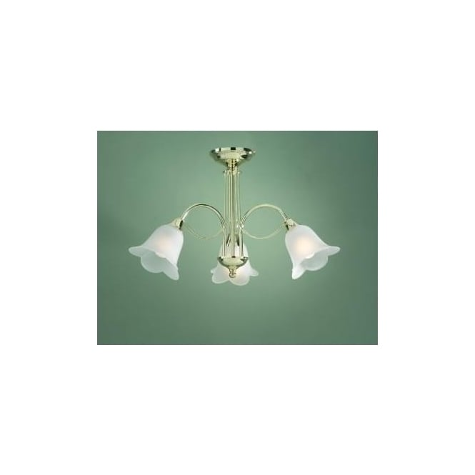 Dar DOU0340 Doublet 3 Light Traditional Ceiling light Polished Brass Finish Complete With Acidated Glass Shades