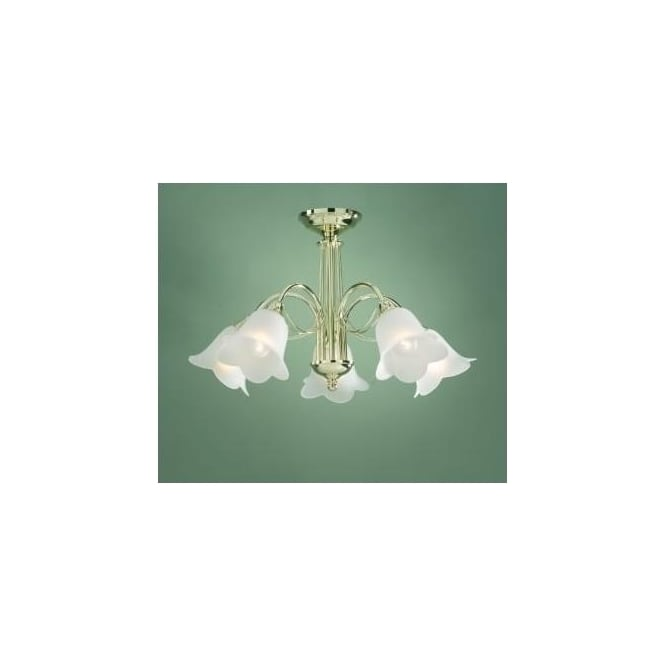 Dar DOU0540 Doublet 5 Light Traditional Ceiling Light Polished Brass Finish Complete With Acidated Glass Shades