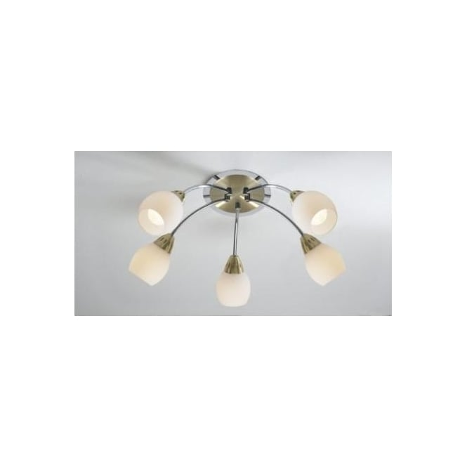 Dar TEM0541 Tempo 5 light modern ceiling light flush fitting satin brass and polished chrome finish with opal white glass shades