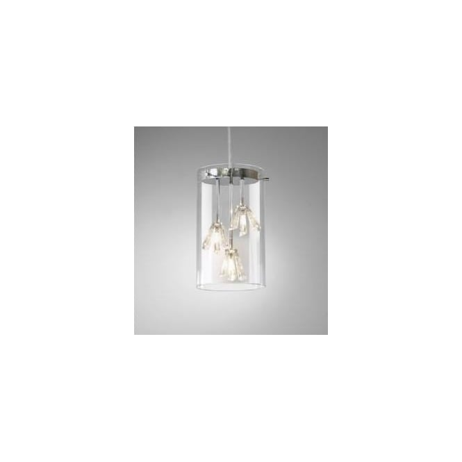 som0350 somerset 3 light modern crystal pendant light ceiling light polished chrome finish glass cylinder shade