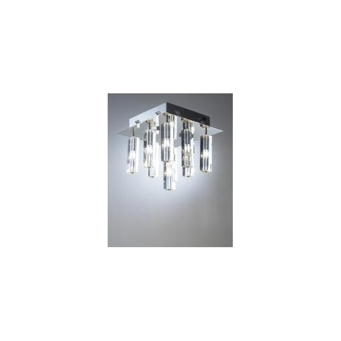 Dar GAL1350 Galileo 9 light ceiling light flush crystal and polished chrome