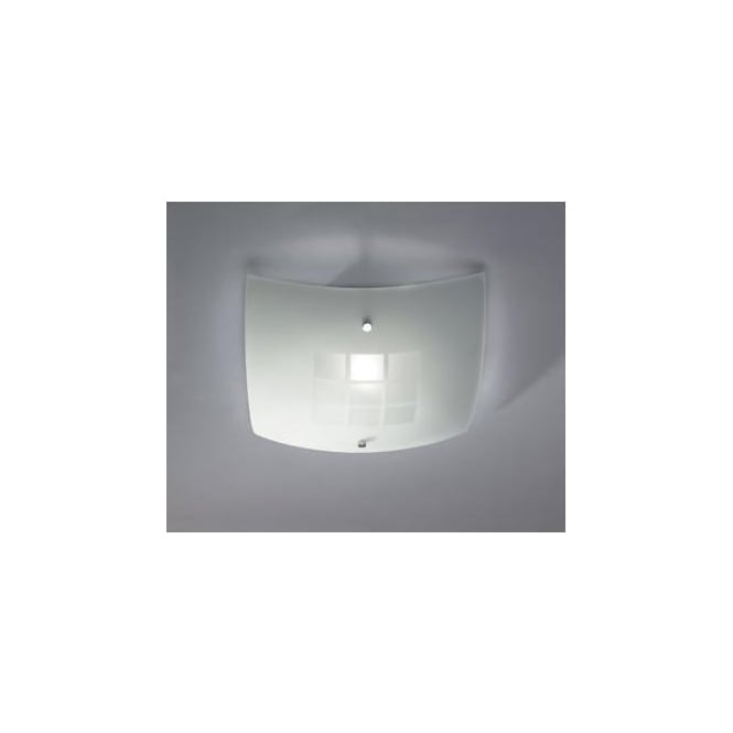 Dar VEN502 Ventana 1 light modern ceiling light flush frosted/opal and polished chrome finish