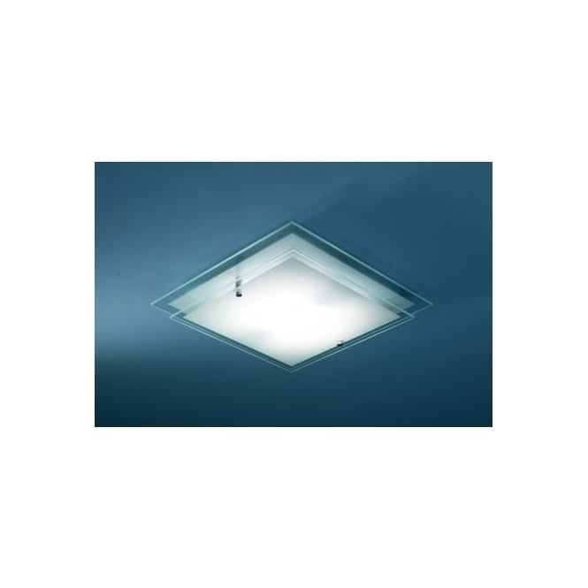 Fra472 frame 1 light modern ceiling light flush frosted and clear glass finish