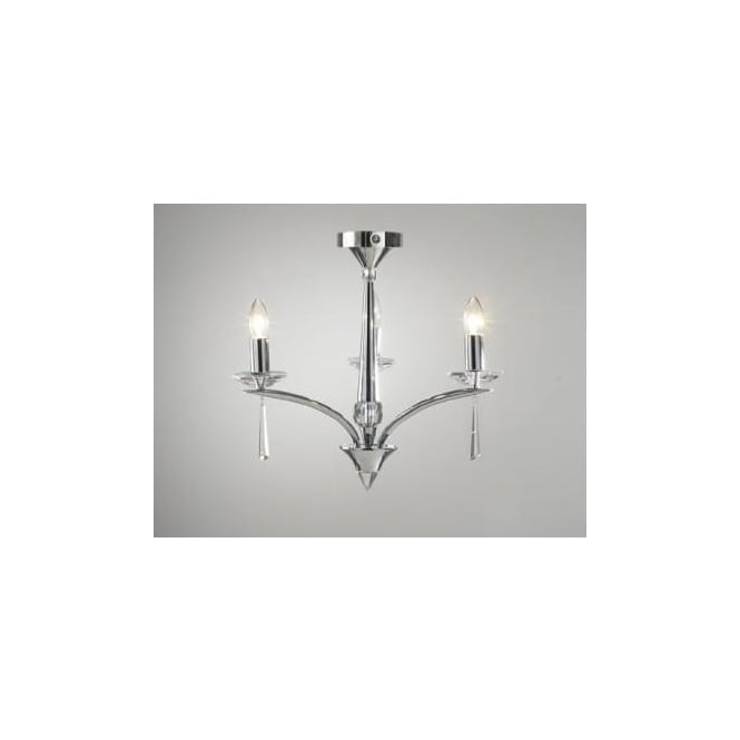 Dar HYP0350 HYPERION 3 Light modern ceiling light pendant Crystal and polished chrome finish