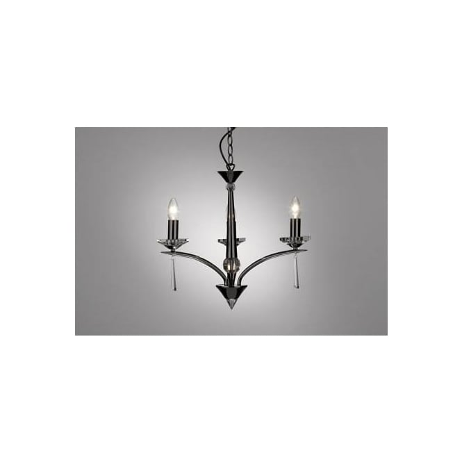 Dar HYP0367 HYPERION 3 LIGHT modern ceiling light PENDANT crystal and BLACK CHROME finish