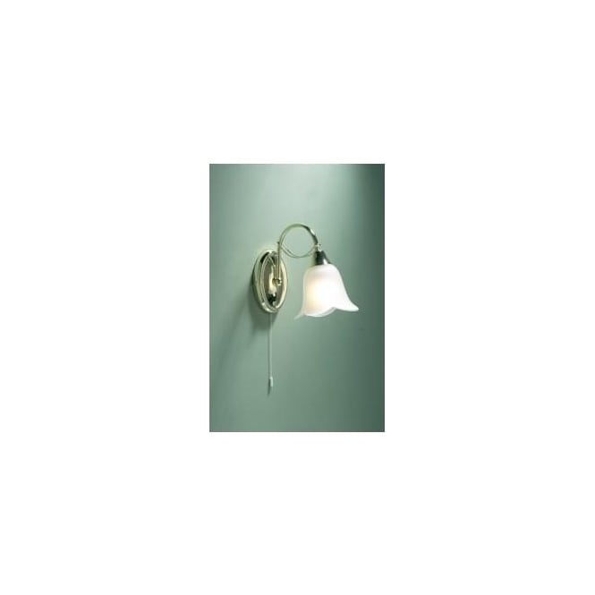 size 40 02628 16e19 DOU0740 Doublet 1 Light Switched Traditional Wall Light Polished Brass  Finish Complete With Acidated Glass Shades