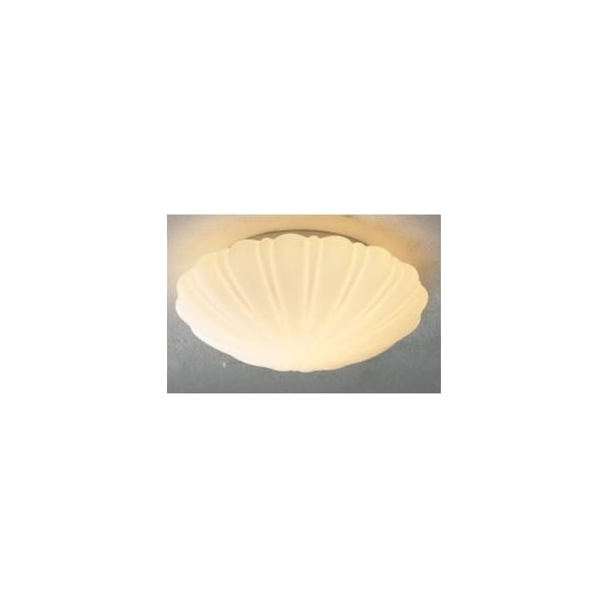 Dar CAF502 Cafe 1 light traditional bathroom flush ceiling light IP44 rated shell style white glass