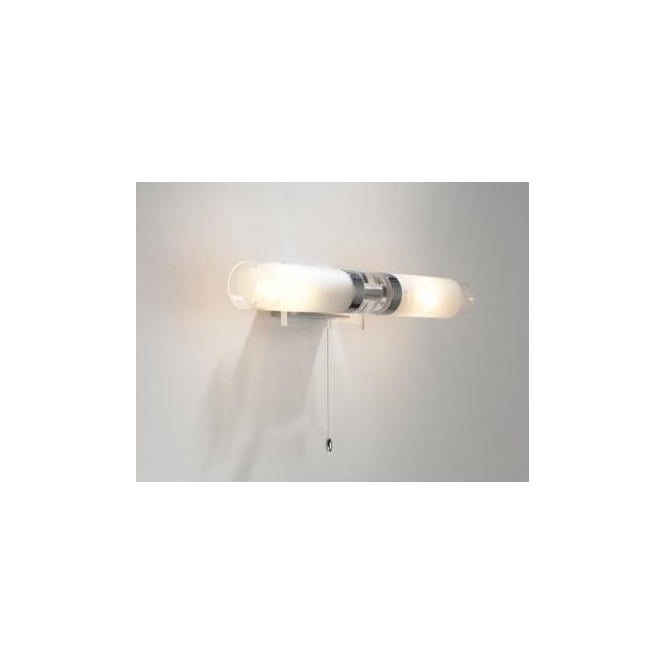 ref0950 reflex 2 light bathroom switched wall light frosted glass polished chrome switched