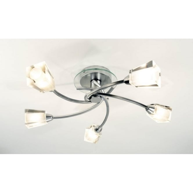 Dar AUS0550 Austin 5 light modern flush ceiling light glass clear/frosted glass polished chrome finish