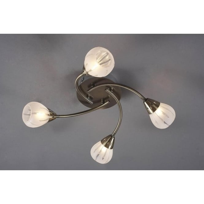 Dar VIL0475 Villa 4 light modern flush ceiling light acid etched glass antique brass finish