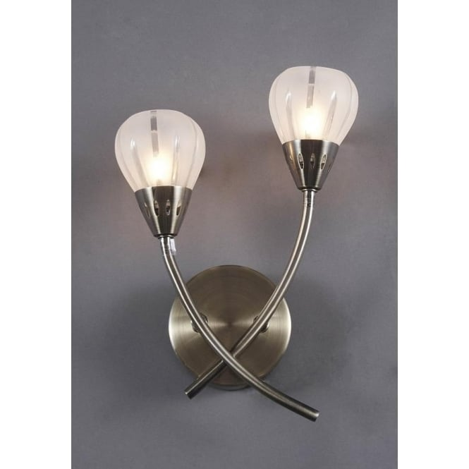 Dar Dar VIL0975 Villa 2 light modern wall light acid etched glass antique brass finish - Wall ...