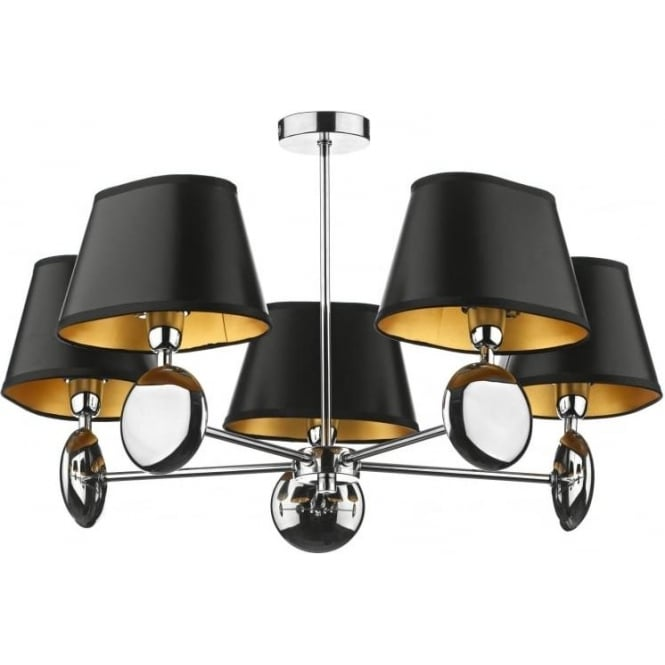 Dar LEX0550 Lexington 5 light modern dual mount pendant ceiling light polished chrome finish optional small black or small ivory shades