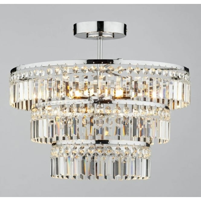 Dar ROW5450 Rowena 3 light modern ceiling light semi flush polished chrome finish