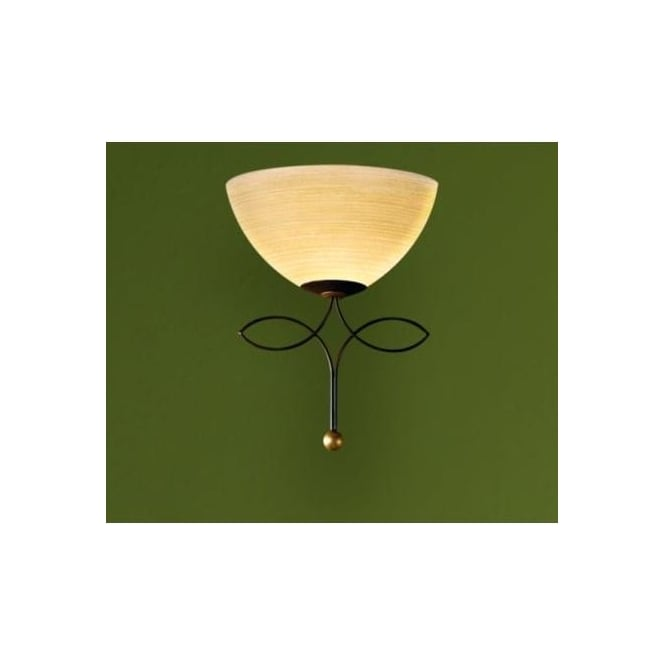 Eglo 89135 Beluga 1 light traditional wall light champagne glass antique brown finish
