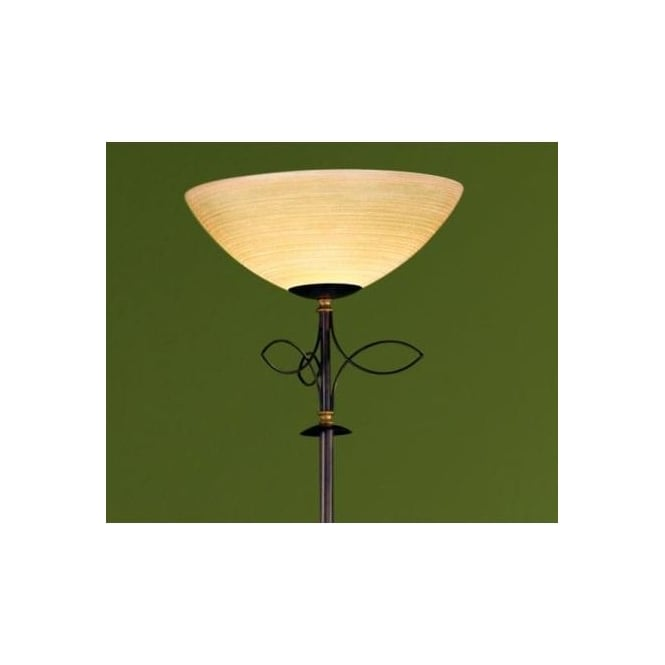 Eglo 89137 Beluga 1 light traditional floor lamp champagne glass antique brown finish
