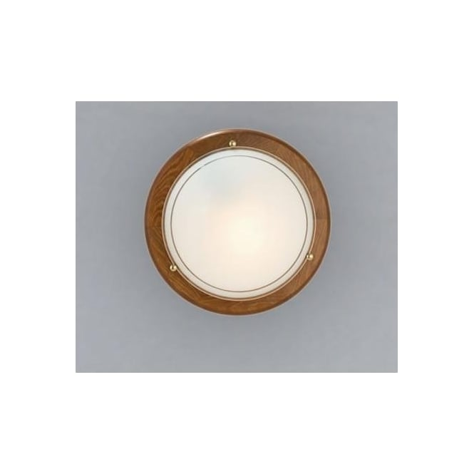 Eglo 3891 UFO1 1 light traditional flush ceiling light white opaque glass oak finish small