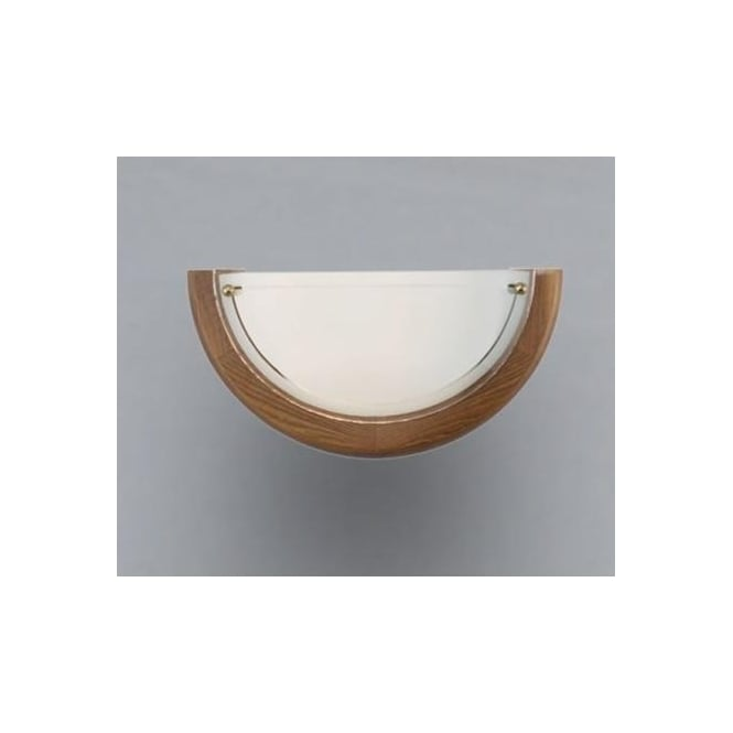 Eglo 3893 UFO1 1 light traditional wall light white opaque glass oak finish