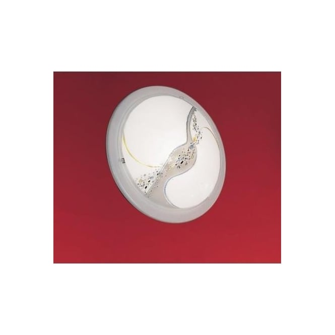 Eglo 83195 Planet3 1 light traditional flush ceiling light satin glass coral pattern white finish