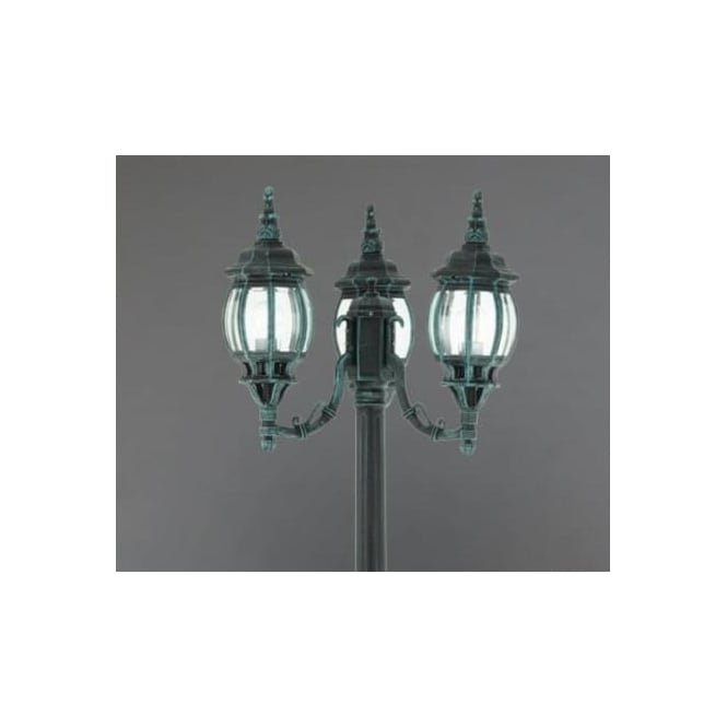 Eglo 4171 Outdoor Classic 3 Light Outdoor Floor Lamp Post Lamp Black Green Fi