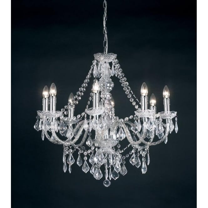 Endon 308-8CL Clarence 8 Light Traditional Chandelier Ceiling Pendant Light Clear Acrylic Finish