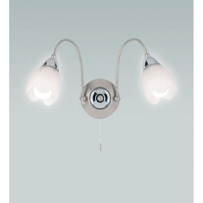 Endon 124-2 Petal 2 Light Switched Wall Light Satin Chrome