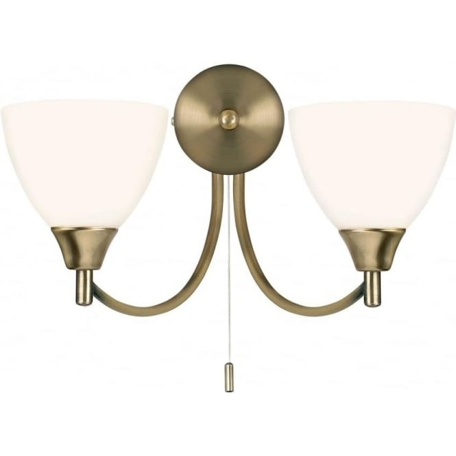 Endon 1805-2AN Alton 2 Light Switched Wall Light Antique Brass