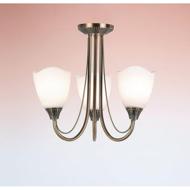 Endon 601-3AN 3 Light Ceiling Light Antique Brass