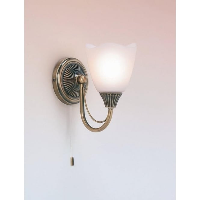 Endon 601-1AN 1 Light Switched Wall Light Antique Brass