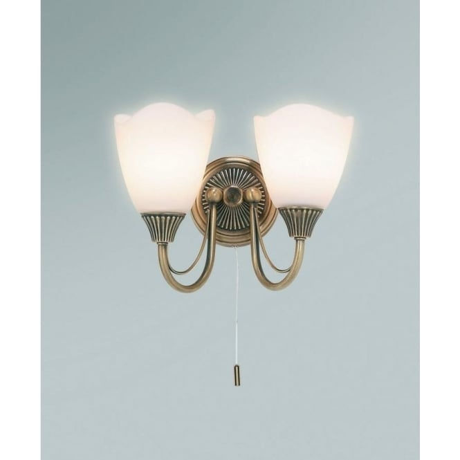 Endon 601-2AN 2 Light Switched Wall Light Antique Brass