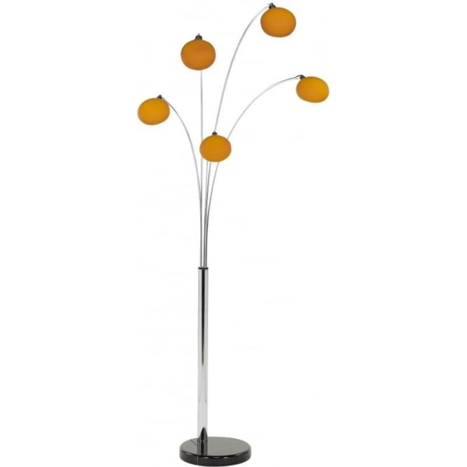 Retro Lighting L5FLOORORANGE 5 Light modern floor lamp orange glass shades black marble base