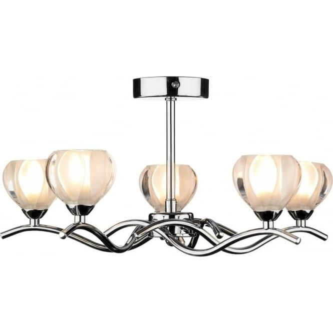 Dar CYN0550 Cynthia 5 light modern ceiling light opal glass and polished chrome finish