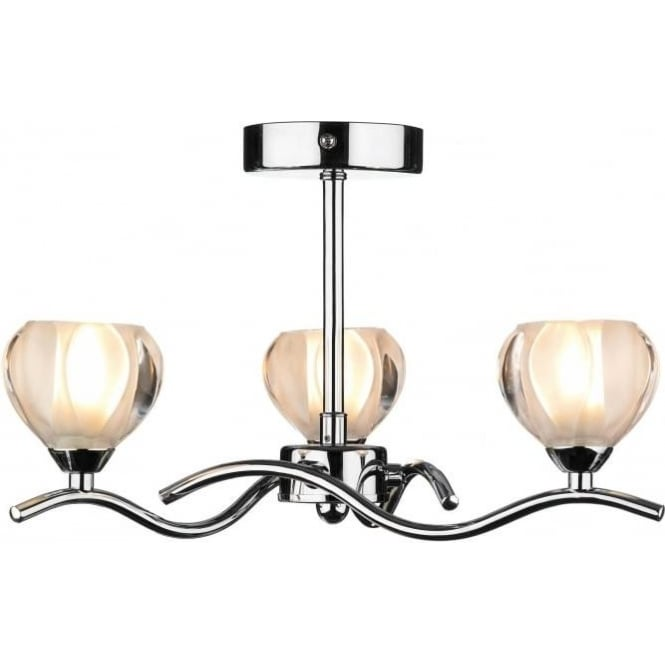 Dar CYN0350 Cynthia 3 light modern ceiling light opal glass and polished chrome finish