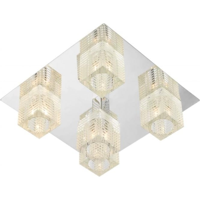 Dar OSW5450 Oswald modern 5 light ceiling flush polished chrome finish