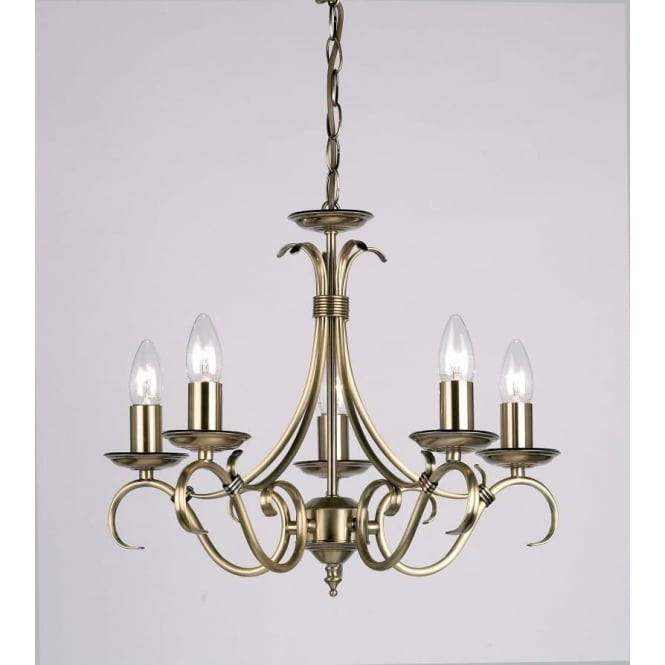 Endon 2030-5AN Bernice 5 Light Ceiling Pendant Light Antique Brass