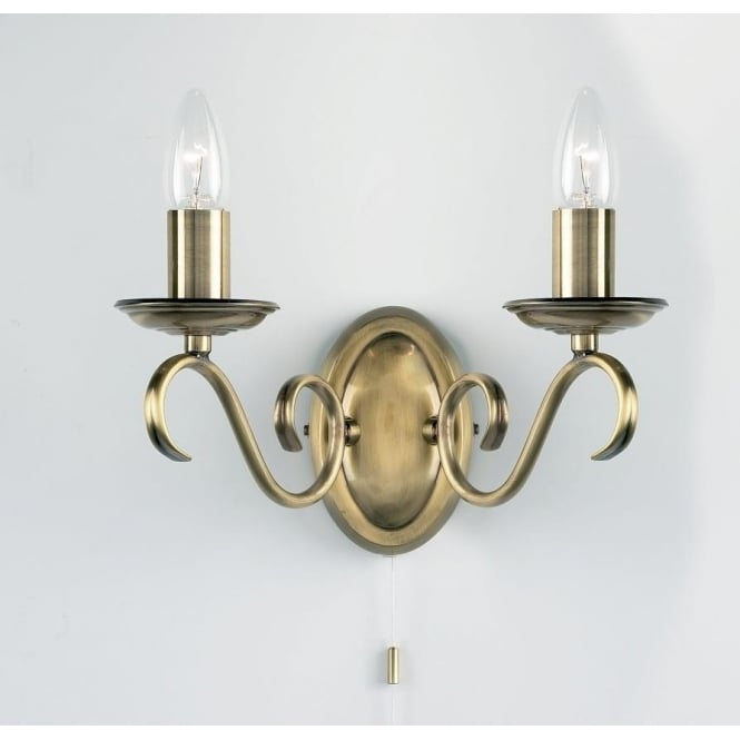 Endon 2030-2AN Bernice 2 Light Switched Wall Light Antique Brass Finish