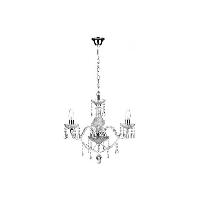Dar KAT0350 Katie 3 light traditional chandelier acrylic crystal finish