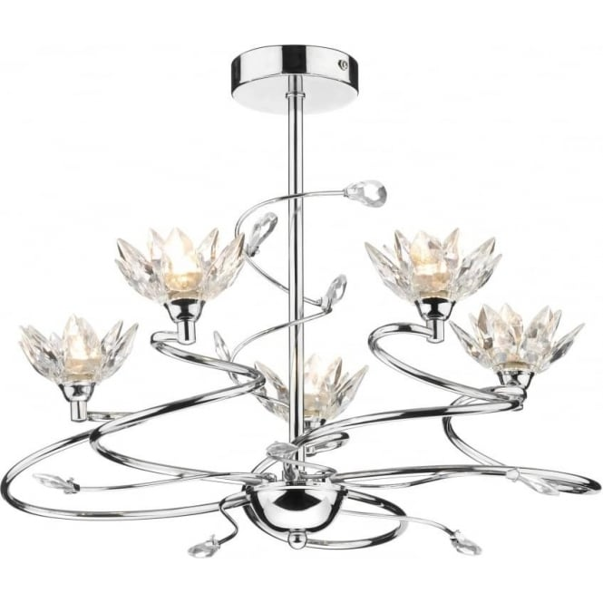 Dar POP0550 Poppy 5 light modern ceiling light crystal and polished chrome finish