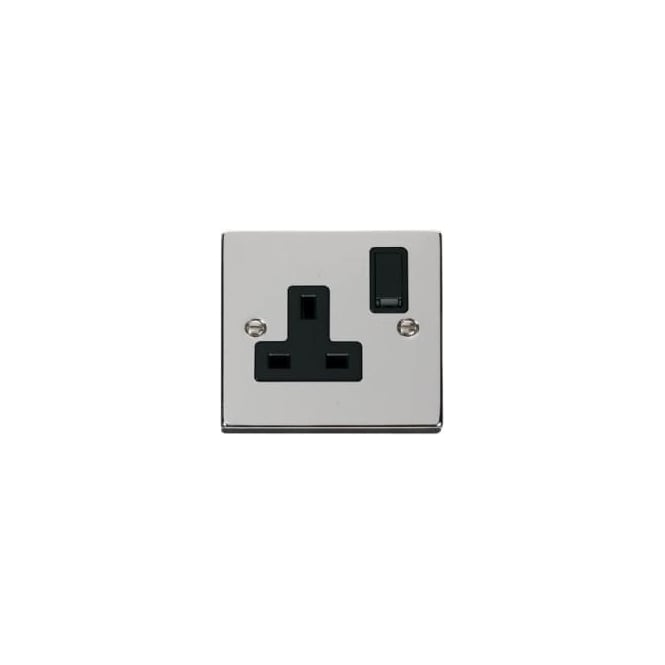 WS Electrics A092CRP 1 gang 13 amp double pole switched single socket outlet polished chrome finish with black inserts