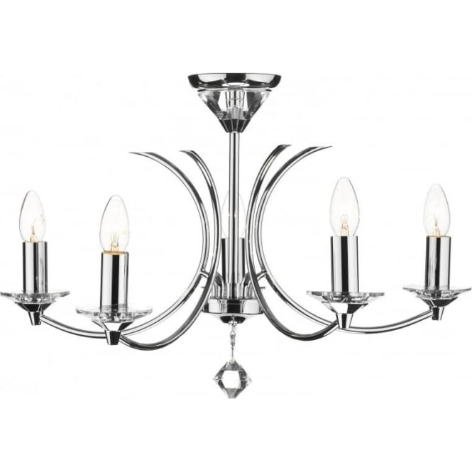 Dar MED0550 Medusa 5 light modern ceiling pendant light crystal and polished chrome