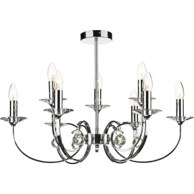 Dar ALL1350 Allegra 9 light traditional ceiling pendant polished chrome finish