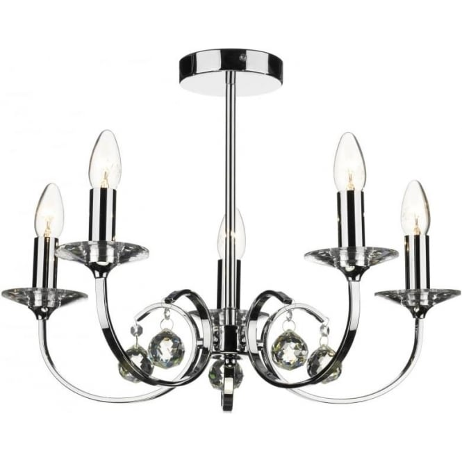 Dar ALL0550 Allegra 5 light traditional ceiling pendant polished chrome finish