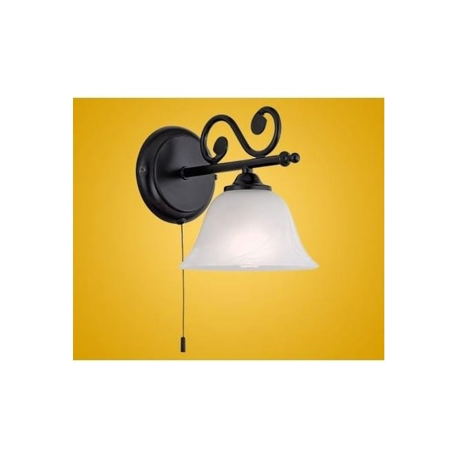 Eglo 91006 Murcia 1 light traditional wall light black finish with a alabaster white glass shade (switched)