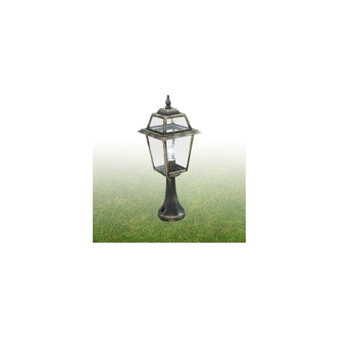 1524 New Orleans 1 Light Post Lamp Cast Aluminium Black Gold Clear Glass Ip44 Rated