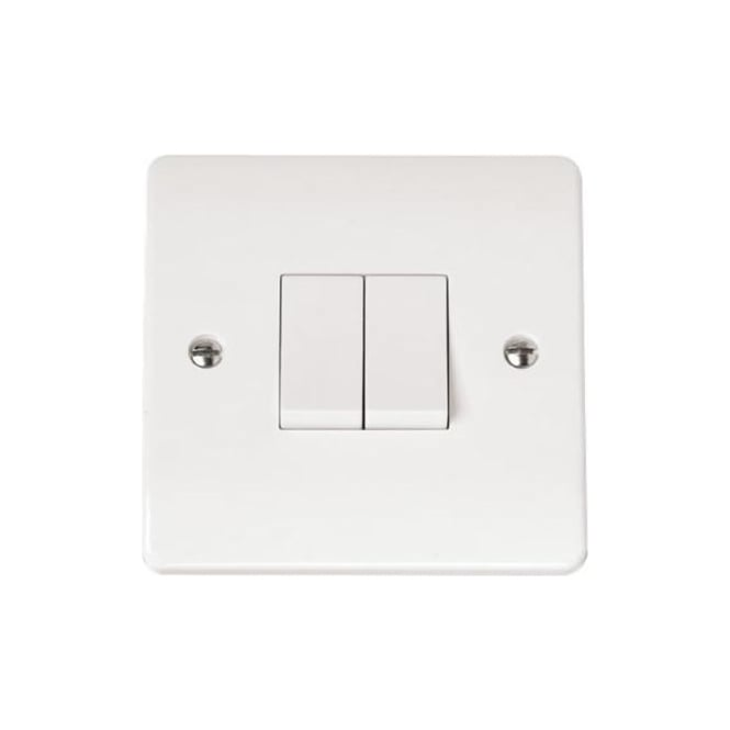 Click Mode Cma012 2 Gang 2 Way 10 Ax Double Light Switch Brilliant White Plastic