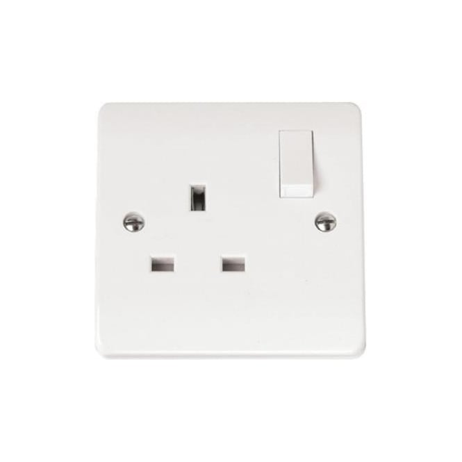Click Mode CMA035 1 gang 13 amp double pole switched single socket outlet brilliant white plastic
