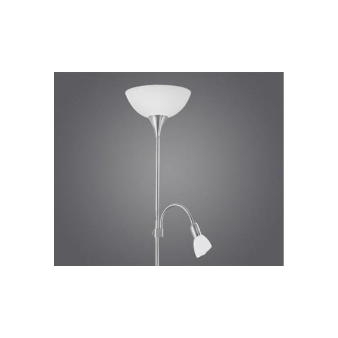 Eglo 82842 Up2 2 light traditional floor lamp adjustable lamp white frosted glass and a plastic shade nickel matt finish with switch