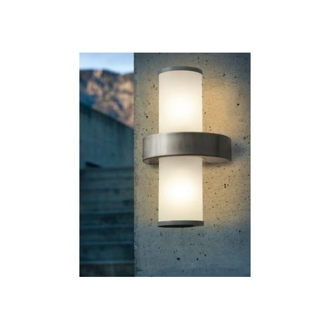 86541 BEVERLY 2 Light Modern Outdoor Wall Light Opal, Stainless Steel And  Silver Finish Ip44