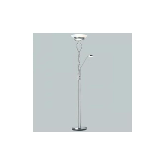 Endon Monaco-SC 2 light modern floor lamp satin chrome finish rotary dimmer
